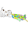 small puppy playing with a map of the usa vector image vector image