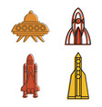spaceship icon set color outline style vector image vector image