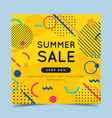 summer sale colorful banner with trendy abstract vector image