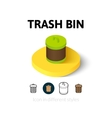 Trash bin icon in different style vector image