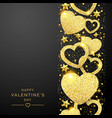 valentines day background with shining golden vector image