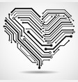 abstract circuit board in shape heart vector image