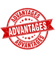 advantages round grunge ribbon stamp vector image vector image