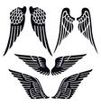 Angel wings set silhouette vector image vector image
