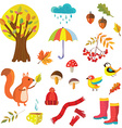 Autumn collection with nature elements and animals vector image vector image