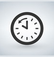 back arrow around clock glyph icon vector image