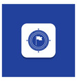 blue round button for aim business deadline flag vector image vector image