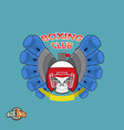 Boxing labels Skull in a boxing helmet with gloves vector image vector image