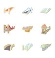 Bridge icons set cartoon style vector image vector image