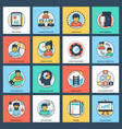 business and data management flat icons set vector image