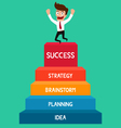 Businessman going up to success staircase success vector image vector image