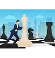 Businessman on the chess board Man chess player vector image