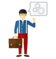 Businessman pointing at cogwheels vector image vector image