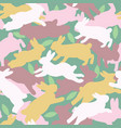 camouflage seamless pattern bunny and leaves vector image vector image