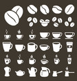 coffee icons coffee cups and beans silhouette vector image vector image