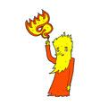 comic cartoon fire spirit vector image vector image