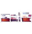 cosmetics store interior stuff and furniture set vector image