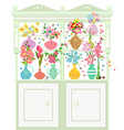 Cupboard with collection of vases with cute vector image