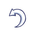 curved rounded arrow turning left down icon vector image vector image