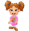 cute girl cartoon holding flower vector image