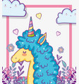 cute unicorn with branches leaves and hearts vector image