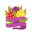easter eggs in grass and blank ribbon isolated vector image