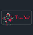 flower bouquet thank you gift card vector image vector image