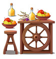furniture in country style liqueur and fruits vector image vector image