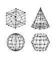 geometry wireframe shapes set cube pyramid ball vector image