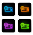 glowing neon microwave oven and gear icon vector image vector image