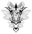 hand drawn beetle with wings vector image vector image
