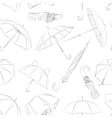 Hand drawn umbrellas pattern vector image