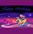 happy birthday card with girl riding the unicorn vector image vector image