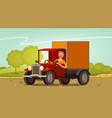 happy driver rides in retro truck delivery vector image vector image