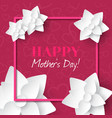 happy mothers daygreeting card with white flowers vector image