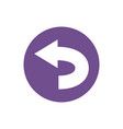 icon left turn direction in color circle vector image vector image