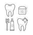 icons of toothbrush toothpaste and floss vector image vector image