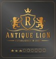 Luxurious Lions Royal Crest Design Template vector image vector image