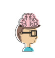 man head and brain icon vector image