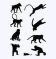 monkeys silhouette vector image vector image