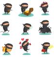 Ninja Mascot set 4 vector image