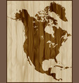 north america map on wood background vector image vector image