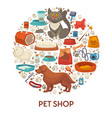 pet shop banner template with dog and cat care vector image