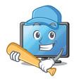 playing baseball lcd tv cartoon in living room vector image vector image