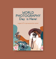 poster template design with world photography day vector image vector image