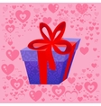 Present on the background of the heart Valentine vector image