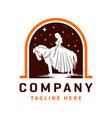 princess horse riding logo design template vector image vector image