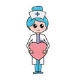 professional nurse with heart in tha hands vector image vector image