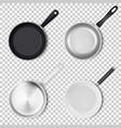 realistic 3d empty black silver non-stick vector image vector image