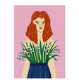 redhead woman with flowers on her breast vector image